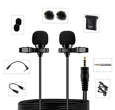 Dual Lavalier Microphone Dual Head 2 Microphones great for Voice Recording, Smartphones, Cameras etc