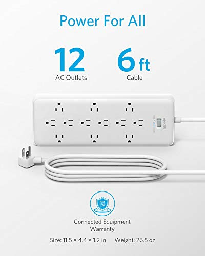 Anker Power Strip Surge Protector (2 × 4000 Joules), PowerExtend Strip 12 Outlets with Flat Plug, 1875W Output, 10 ft Extension Cord, Dual Surge Protection for Office, Home 2