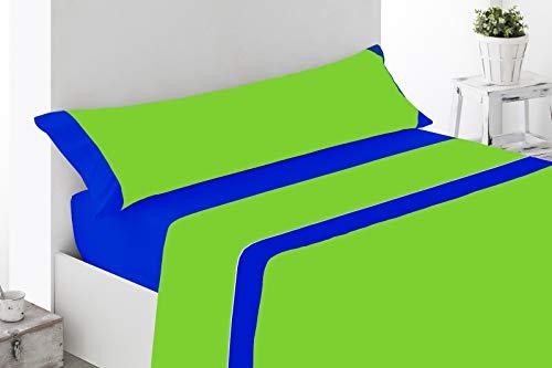 Regalitostv - ECLIPSSE - Juego Sábanas De Verano Lisas (3 Piezas) (105_x_200_cm CAMA 1 Plaza Media, Azul y Verde)