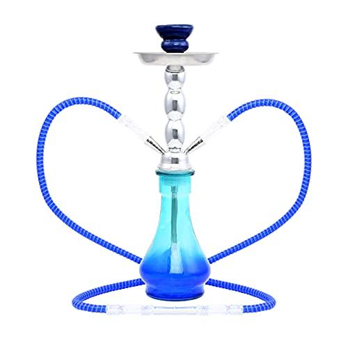 MADGROW. Cachimba BALZAN. Cristal Frosty en la Base. Color Azul Cuerpo de Metal. 2 Tubos. 45 cm. SÚPER Pack: 10 Pastillas CARBÓN + 5 BOQUILLAS + escobilla + sartén para carbón + Pinzas/perforador