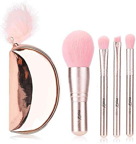 XHDMJ Beauty Tools Makeup Brush Set Portable Mini Pink 4 Piece Set of Synthetic Fiber for Beginners with Storage Bag