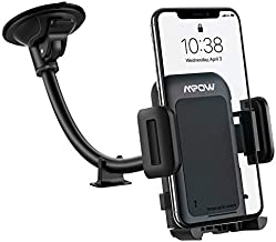 Car Phone Mount, Mpow Upgraded Windshield Car Phone Holder, Long Arm Washable Suction Cup Car Mount, One Button Release Clamp Compatible with iPhone 11 Pro MAX/XS MAX/XR/X/8/7/6Plus etc
