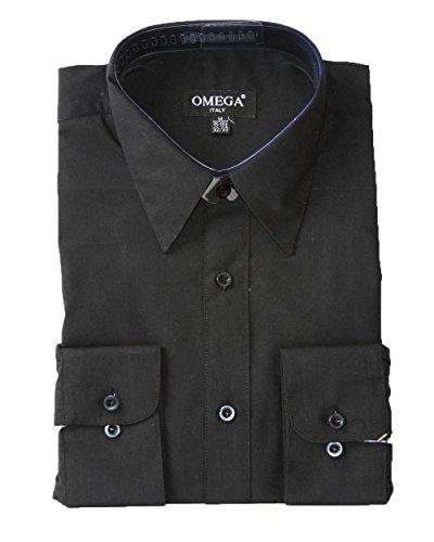 Omega Chemise à Manches Longues à Boutons pour Homme - Noir - XXX-Large