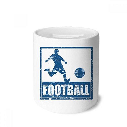 DIYthinker Azul del Futbolista Kick Football Money Box Cajas de Ahorro de cerámica Adultos Moneda de la Caja para niños