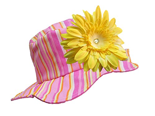 Jamie Rae Hats - Candy Pink Stripe Sun Hat with Yellow Daisy, Size: 4-6Y