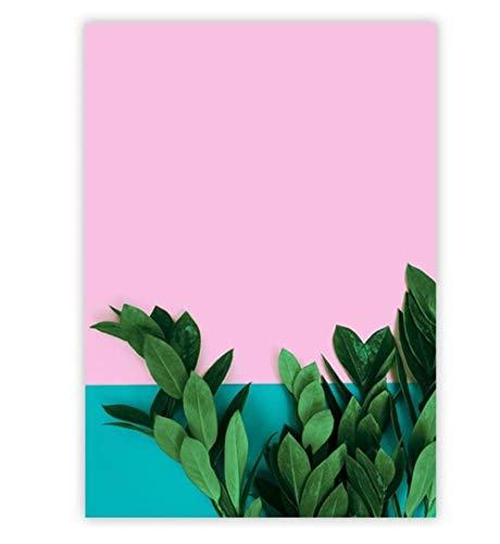 ZPANPAN 3D Fondo Rosa nórdico Planta de piña Verde, Lienzo Pintura Carteles e Impresiones Cuadros de Pared, Sala de Estar decoración del hogar-30x40 cm