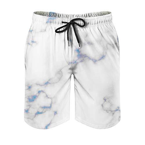 Mens Marmor Textur Badehose Klassische Passform - Muster Shorts white2 5XL