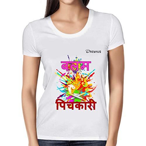Oreynus™ Holi T-Shirts Series | Balam Pichkari White Medium | Holi T-Shirt for Women | Holi Tshirt for Girls