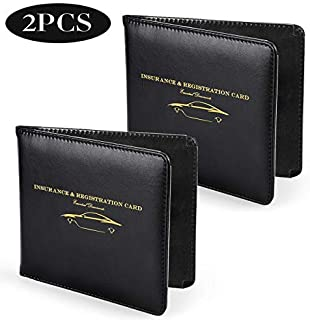 Nogis Car Auto Insurance Registration,Set of 2 Slim Thin Leather Wallet Holder Strong Magnetic Document Store Tool for Driver License, Credit Card ID, Car Document ID, Black
