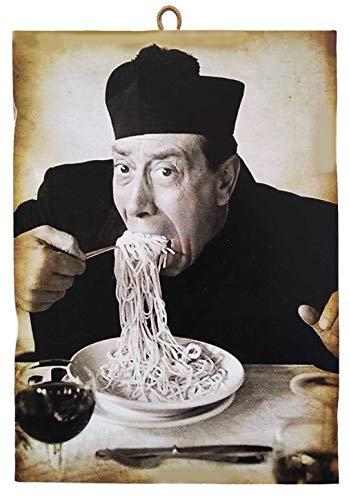 KUSTOM ART Quadro Quadretto Stile Vintage Attori Famosi Don Camillo - Fernandel. Stampa su Legno per Arredamento Ristorante Pizzeria Trattoria Bar Albergo Locanda