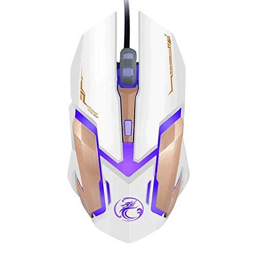ZXCVB Atado con Alambre el ratón del Juego Esports Inicio Oficina Ocasional Juego del ratón Juego dedicado Cuatro Colores retroiluminada de respiración del ratón (Color : White)