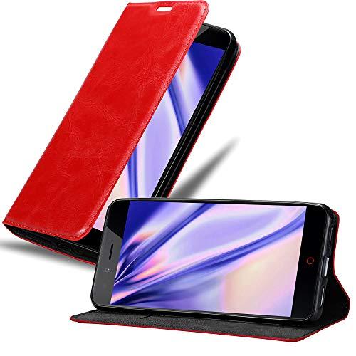 Cadorabo Hülle für ZTE Nubia Z11 Mini S in Apfel ROT - Handyhülle mit Magnetverschluss, Standfunktion & Kartenfach - Hülle Cover Schutzhülle Etui Tasche Book Klapp Style