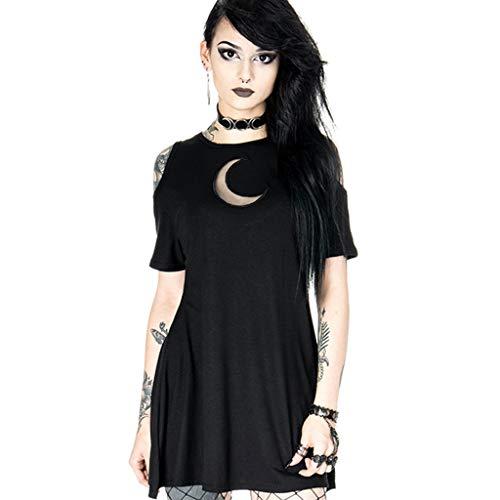 Damen Gothic Kleid Punk T-Shirt Mittelalter Kleidung Lolita Kleid Schulterfrei Kurzarm Top Shirt Kleid Vintage Moon Drucken Freizeit Oberteil Rock Streetwear Karneval Kostüm Cosplay Party Minikleid