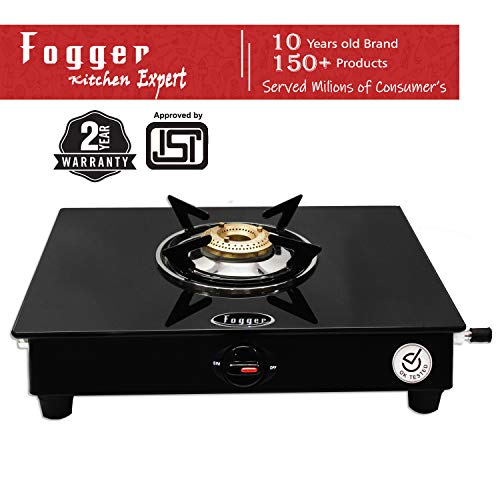 Fogger Glass top 1 Brass Burner LPG Gas Stove (ISI Approved)