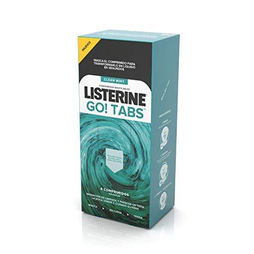Listerine Go Tabs - 48 comprimidos masticables sin azúcar, siente tu boca limpia y fresca