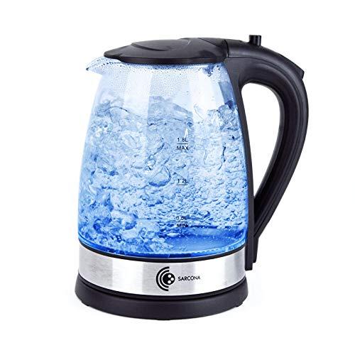 Sarcona Design Glas Wasserkocher 1,8 Liter, Edelstahl-Heizelement, 2200 Watt, mit LED Beleuchtung, Trockenlaufschutz, BPA-frei, 360° Basis, schwarz