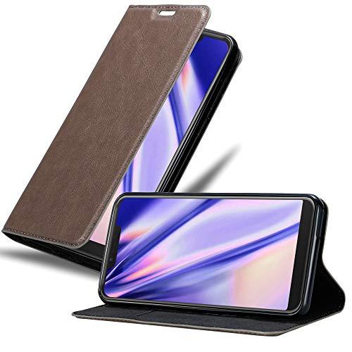 Cadorabo Hülle für WIKO View 2 Plus in Kaffee BRAUN - Handyhülle mit Magnetverschluss, Standfunktion & Kartenfach - Hülle Cover Schutzhülle Etui Tasche Book Klapp Style