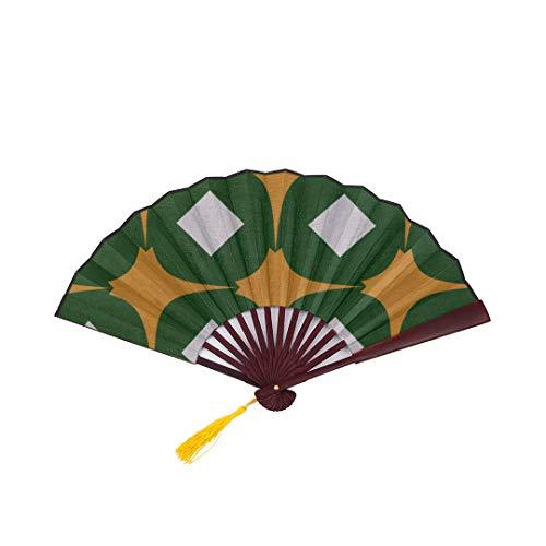 Lajro Big Hand Fan Romantic Elegant Retro Jade Green with Bamboo Frame Tassel Pendant and Cloth Bag Japanese Fans Folding Fans Kids Foldable Bamboo Fan Folding Fan Durable