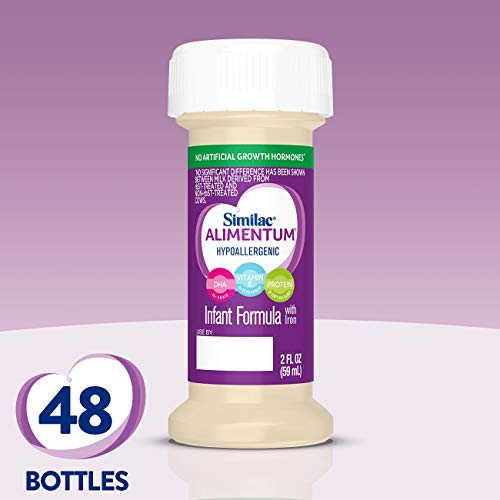 Similac Alimentum, 48 Count, Hypoallergenic Infant Formula, for Food Allergies and Colic, Starts Reducing Excessive Crying Within 24 Hours, Corn-Free & Lactose-Free, Ready-to-Feed, 2-fl-oz Bottle