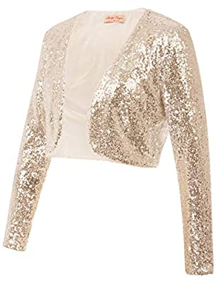 Belle Poque Long Sleeve Sequin Giltter Cardigan Jacket Fancy Night Out Dress Shrug for Women (Gold,L) from