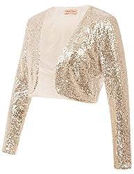 Gold Sequin Fabric Long Sleeve Cropped Blazer Bolero Shrug