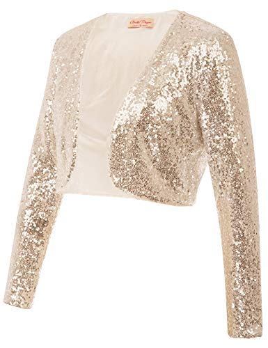 Belle Poque Women's Sequin Shrug Elegant 1920s Bridal Bolero Jacket Clubbing Wear Gold Giltter Blazer Coat (Gold,M)