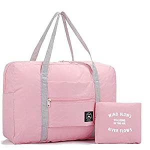 Foldable Travel Bag Luggage Storage for Sports Gym Water Resistant Nylon Canvas Duffel for Men, Women 32 Liter (Pink)