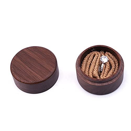 USNASLM Caja de madera personalizada del portador del anillo del regalo de la boda rústica de encargo de sus nombres y fecha graban la caja del anillo de boda de