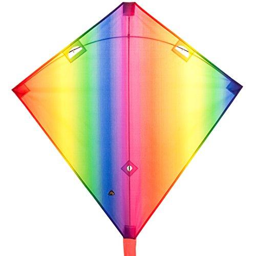 HQ 112337 - Dancer Rainbow, Zweileiner Einsteiger-Lenkdrachen, ab 8 Jahren, 90x90cm und 15m Schlauchschwanz, inkl. 17kp Polyesterschnüre 2x25m auf Spulen, 2-6 Beaufort