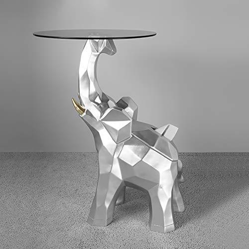 DD&QG Elefante Escultura Vidrio Rematado Mesa Lateral,2 En 1 Elefante Tabla De Acentos Caja De Tejido De Papel,Suerte Elefante Animal Estatua-Plata 40x46x65cm(16x18x26inch)