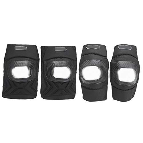 Mxzzand Überlegene Ellbogenschützer Knieschützer Schmutzfeste, langlebige Knieschützer als Schutz für EIN besseres Erscheinungsbild(Black Four-Piece Suit, One Size)