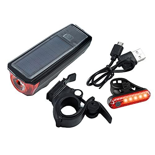 Sharplace 3 en 1 USB/Solar Recargable LED Bicicletas Cabeza de Bicicleta Faro Delantero lámpara con Cuerno - Faro de luz Trasera