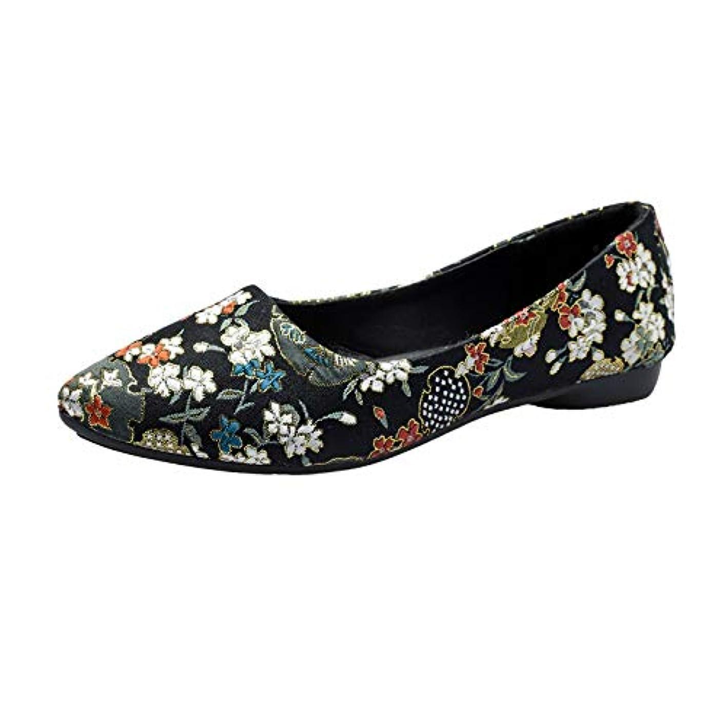 フラットシューズ レディース Hodarey 浅口 尖 刺繍花フラットシューズワンペダル 怠惰な靴 カジュアルシューズ シングルシューズ ファッション 女性の靴 かわいい 履きやすい 美脚 人気 安い レディースローファー カジュアル フラットシューズ