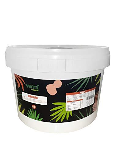 VERMIORGANIC Biochar 4L (1 KG). Aconcionador y mejorador del suelo. Actúa contra el cambio climático por su capacidad para secuestrar CO2.