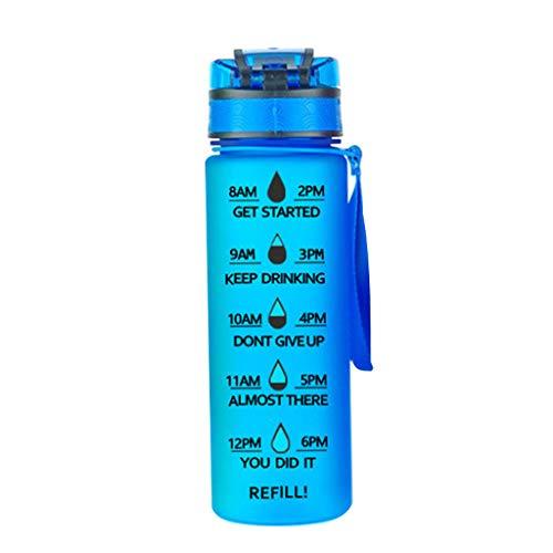 Botella de agua deportiva de gran capacidad con marcador de tiempo de plástico, sin BPA azul