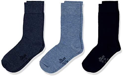 s.Oliver Socks Jungen S20040 Socken, Blau (Stone Mix 5303), 27-30 (Herstellergröße: 27/30) (3er Pack)