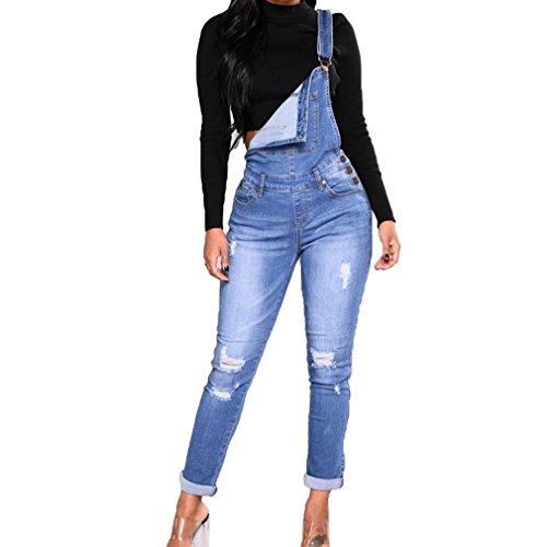 Juleya Frauen lose beiläufige Baggy ärmellose Stretch Denim Jeans voller Länge insgesamt Latzhose Damen Taschen Playsuits Overalls
