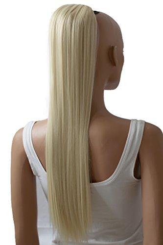 PRETTYSHOP 65cm Postiche Natte Queue De Cheval Extensions De Cheveux Raide Blond Platine PH614