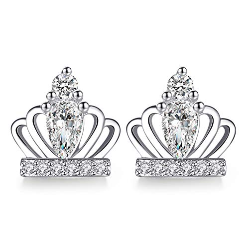 Cestbon 925 Sterling Silber Süße Prinzessin Krone White Diamond Ohrstecker,Silber