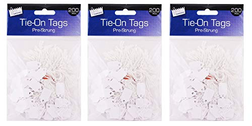 Set of 200 - Tie-On Tags Blank Label Paper Luggage Tags - Pre-Strung Tag - Size Approx 13 x 20mm (Pack of 3)