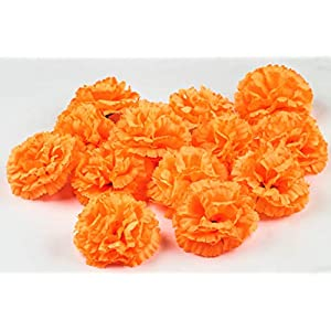 KRATI EXPORTS – Orange Marigold – Artificial Flower, Silk Flower Head Indian/American Wedding Party Mantle Decoration, Faux Wedding, Diwali Decoration, Spring Bush Floral! (Orange, 24)