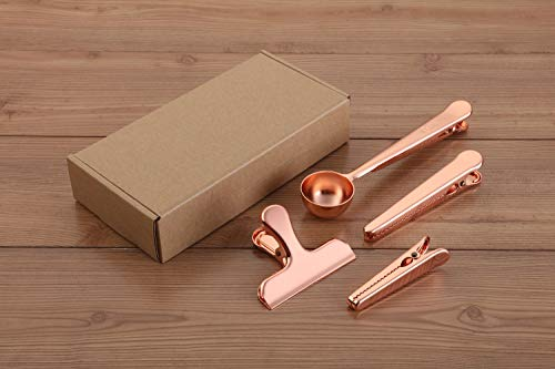 YUESHICO Stainless Steel Coffee Measuring Scoop n Cafe Clip, Coffee Scoop/Spoon with Bag Clip (Rose Gold) (Rose Gold Set)