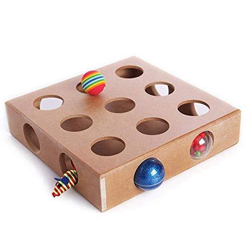Avmy Fashion-Interactive Katzenspielzeug Puzzle Box aus Holz Peek Play Toy Box Hide Seek Katzenmäuse Spielzeug Puzzle Feeder Entzückendes Katzenspielzeug, Braun