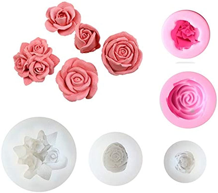 Tangker 3D Rose Silicone Fondant Mold For Wedding Cake Decorating Cupcake Topper Rose Shaped Sugarcraft Chocolate Jello Soap Making Tool Pack Of 5