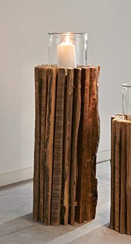 Windlichtsäule Rustikal aus recyceltem Holz, 55 cm hoch, Dekosäule, Kerzenhalter