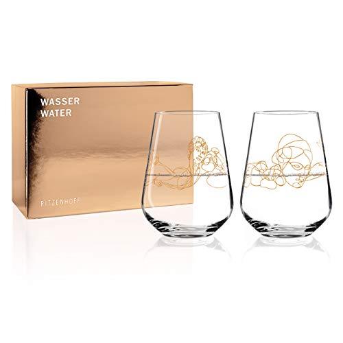 Ritzenhoff Wein-Ensemble Wassergls-Set von Burkhard Neie (Dionysos & Pan | Zeus & Semele), aus Kristallglas, 540 ml, mit echtem Gold