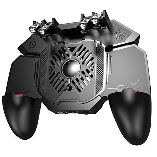 WUHUAROU PUBG Gamepad Griff mit tragbarem Ladegerät Lüfter für PUBG Mobile Controller Sechs Finger Game Trigger Joystick