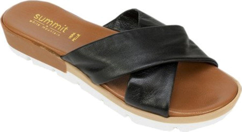 Summit White Mountain Women's Floretta Slide Sandal Black Leather Size 39 M
