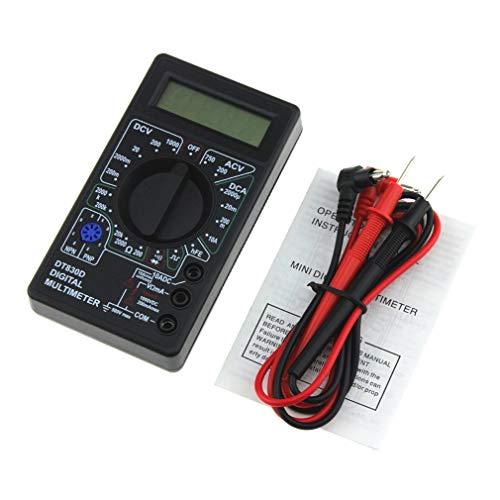 DT-830Dミニポケットデジタルマルチメーター1999カウントAC / DCボルトアンペアオームダイオードhFE導通テスター電流計電圧計オームメーター(黒)