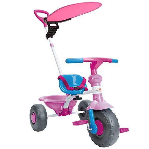 WonderTech Dreirad 2-in-1 Kinderwagen Dreirad mit lenkbarer Schubstange, Kinder Fahrrad mit Baldachin und Rutschfester Gummireifen-Rosa